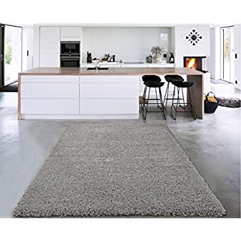 "Sweet Home Stores Cozy Shag Collection Solid Contemporary Living & Bedroom Soft Shaggy Area Rug, 84"" L x 60"" W, Grey"