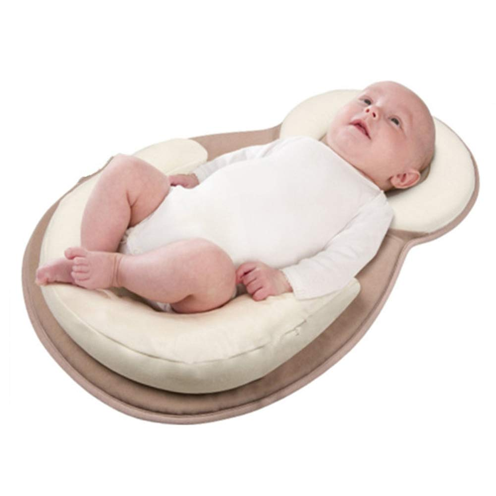 Baby Positioning Pillow, Portable Baby Bed Mattress Flat Head Prevention for 0-12 Month Babys, Beige