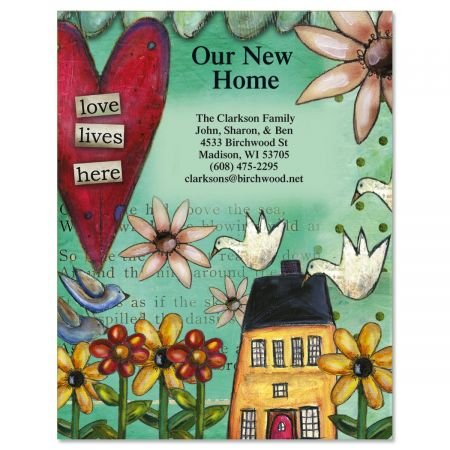 Personalized Moving Announcement - Love Lives Here Moving Announcements Postcards - Set of 24, Personalized with Address, 5-1/4