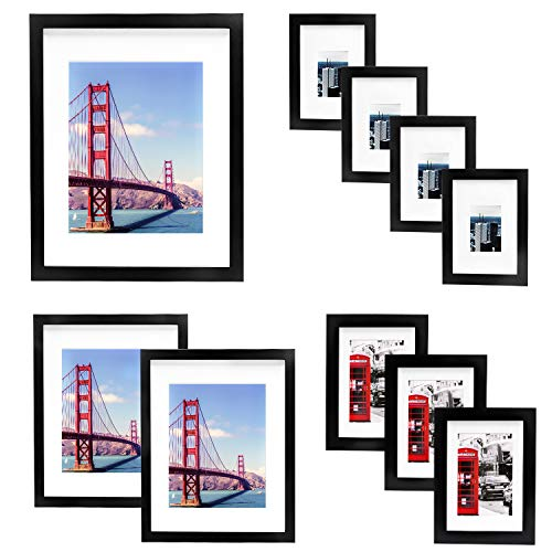 Vsadey 10 Pack Picture Frames Collage Wooden Photo Frames Wall Gallery Kit for Wall and Home with Mat, One 11x14 in, Two 8x10 in, Three 5x7 in, Four 4x6 in, Black (Set Frame Collage)