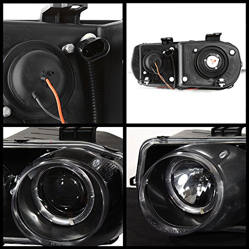 For Acura Integra DC1 Black Bezel Dual Halo Ring Projector Headlights Front Lamps Replacement Pair - Acura Integra Halo Projector Headlights