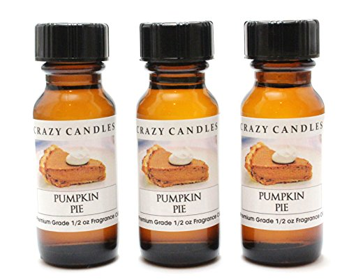 Pumpkin Pie 3 Bottles 1/2 FL Oz Each (15ml) Premium Grade Scented Fragrance Oil by Crazy Candles ()