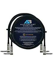 Audioblast – 2 unidades – 2.5 pies – HQ-1 – Ultra Flexible – Doble apantallado (100%) – Cable de conexión para pedal de efectos de instrumentos de guitarra con Eminence en ángulo recto de ¼ pulgadas (6,35 mm) TS y botas dobles escalonadas