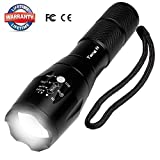 LED Flashlight Tactical Portable waterproof Zoomable Resistant Illumination Handheld Mini with 5 Modes Best Ultra Bright Tools for Camping Hiking Hunting Fishing Riding(Batteries Not Included)
