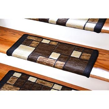 Dean Modern DIY Bullnose Wraparound Non Skid Carpet Stair Treads   Hop  Scotch Chocolate