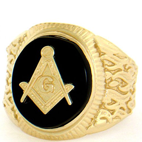 14k Solid Yellow Gold Oval Onyx Masonic Mens Ring 14k Yellow Gold Onyx Ring