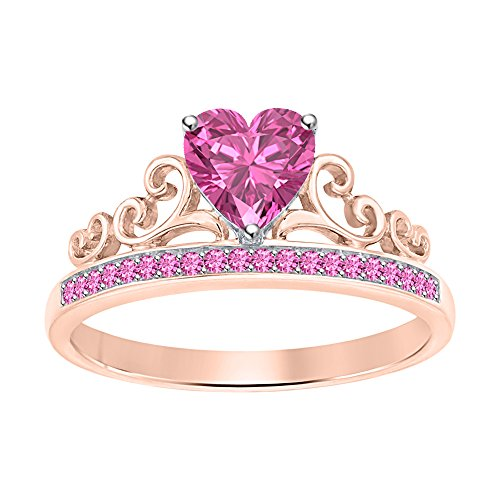 Womens Tiara Princess Promise Heart Crown Ring Pink Sapphire 14k Rose Gold Over .925 Sterling Silver