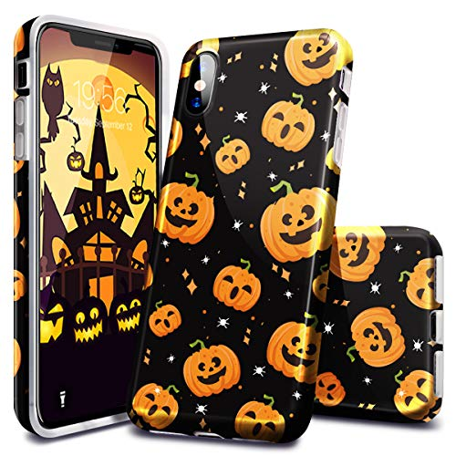 Fingic Case iPhone Xs, iPhone X Case, Halloween Pumpkin Design Glossy Clear Soft TPU Slim Bumper Anti-Scratch Shockproof Protective Case Cover for Apple iPhone Xs/X (2018), Yellow -