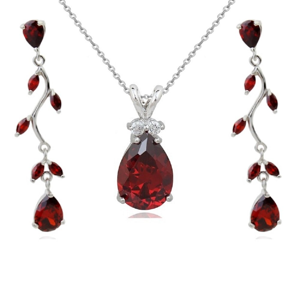 4d2a3208626 Crystalline Azuria Women 18 ct White Gold Plated Teardrops Red Zirconia  Crystals Set Pendant Necklace 18