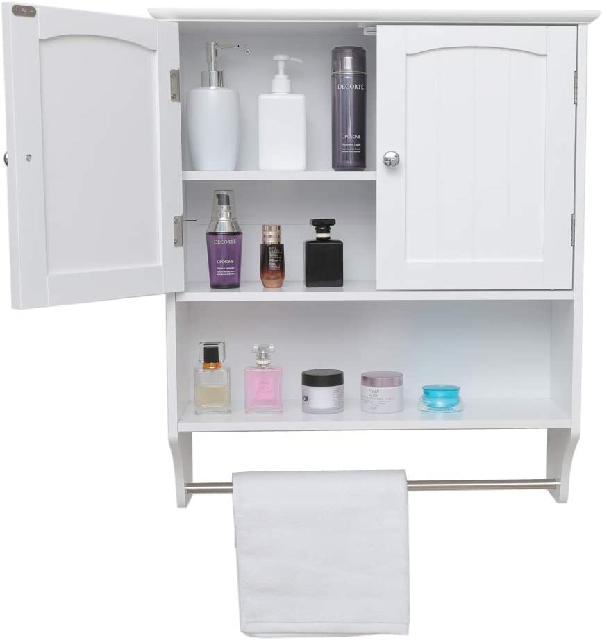 IWELL Wall Bathroom Cabinet with 1 Adjustable Shelf & Towels Bar, Over The Toilet Space Saver Storage Cabinet, Medicine Cabinet with 2 Doors, Cupboard White