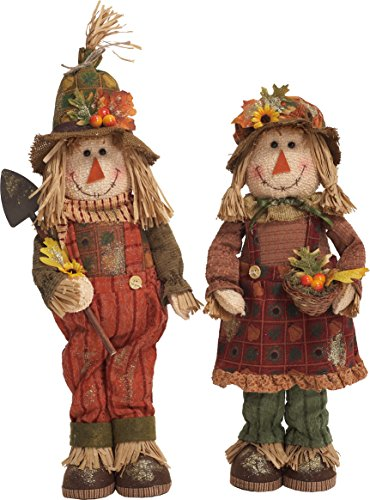 Free-Standing-Boy-and-Girl-Scarecrow-25-inch-Plush-Thanksgiving-Figurine-Set-of-2