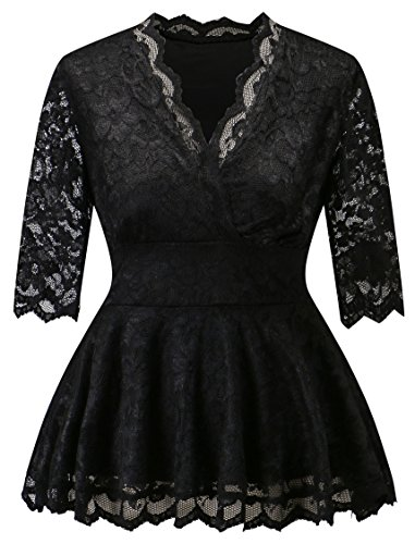 [Women Formal V Neck Long Sheer Sleeve Cut-out Black Lace Blouse Plus Size ( Black 5X )] (Plus Size Evening Wear)