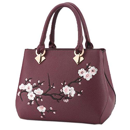 Wu Zhi Las Señoras PU bolso De Hombro Bolsa De Mensajero Purple