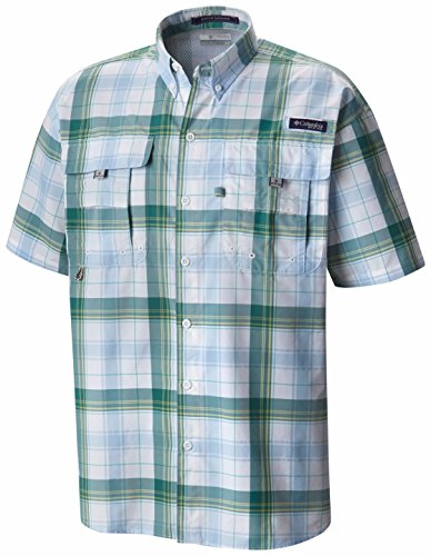 Columbia Sportswear Men's Super Bahama Short Sleeve Shirt, Waterfall Large Plaid, Small ()
