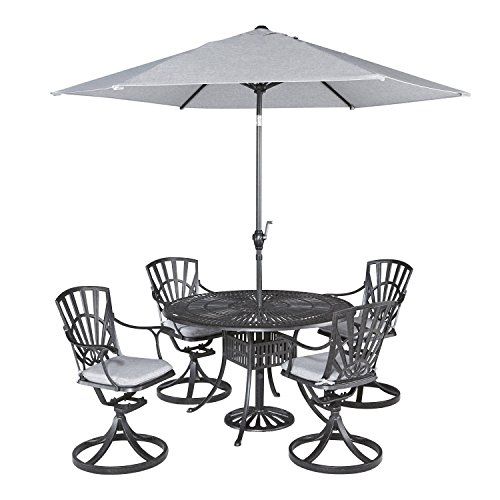 Home Styles 5560-3256C 5-Piece Dining Set with Umbrella and Cushions, Charcoal Finish
