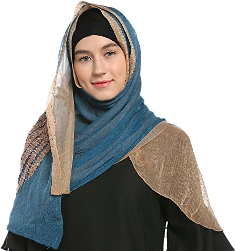 Ababalaya Lace Decorated Wedding Hijab Islamic Hijab,Color2 by Ababalaya