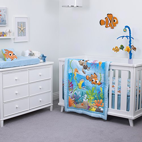 Disney Nemo 3-Piece Nursery Crib Bedding Set, Aqua/Green/Orange/Yellow