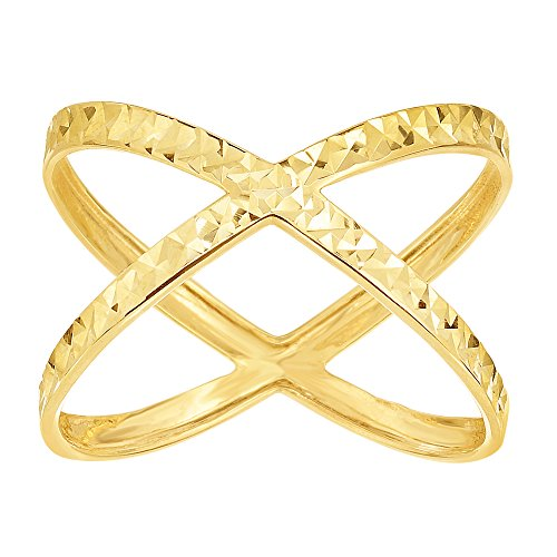 ond Cut Cross Over X Design Fashion Ring ()