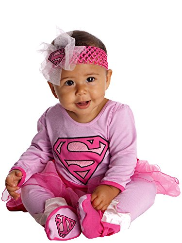DC Comics Supergirl Onesie and Headpiece, Pink, 6-12 Months -
