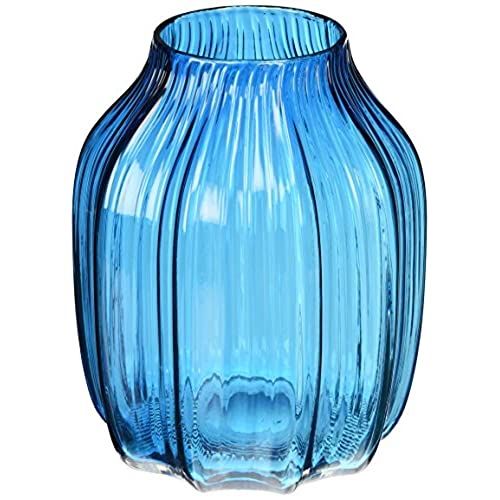casamotion ribbed hand blown solid color art glass vase gift box blue 8 inch