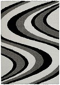 Amazon Com Soft Shag Area Rug 5x7 Swirl Striped Black