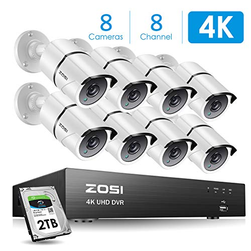 ZOSI 4K Ultra HD Security Cameras System, 8 Channel H.265+ 4K (3840×2160) Video DVR, 8 x 4K (8MP) Ip67 Bullet Weatherproof Surveillance Cameras, Motion Alert, 100ft Night Vision, with 2TB Hard Drive