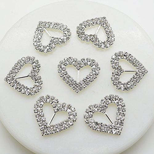 Rhinestone Heart Slide - 20pcs 28x27mm Double Heart Rhinestone Buttons Bar Double Row Circle Ribbon Buckles Garment Hair Jewelry Wedding Decoration Shoes Accessories Christmas Buckles