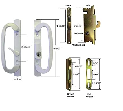 Amazon.com STB Sliding Glass Patio Door Handle Kit with Mortise Lock and Keeper B-Postion White Keyed Home Improvement  sc 1 st  Amazon.com & Amazon.com: STB Sliding Glass Patio Door Handle Kit with Mortise ...