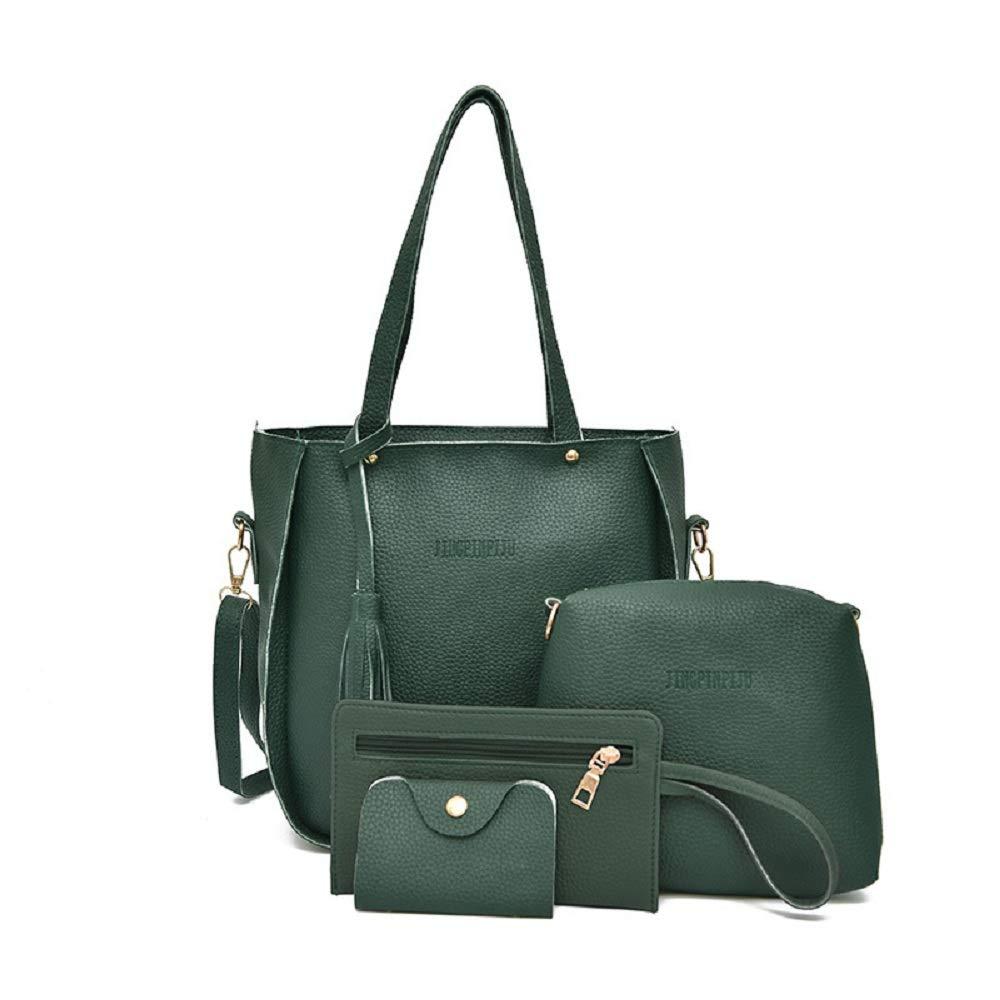 2fff0175e406a Sfit Damen 4 in 1 Handtasche Set Geldbeutel Litschi-Muster ...