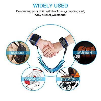 Anti Lost Wrist Link -Child Leashes for Toddlers -Child Safety Wristband(2.5M/98inch Blue)