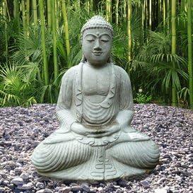 Figura de piedra con buda para jardín, figura de Buda: Amazon.es: Hogar