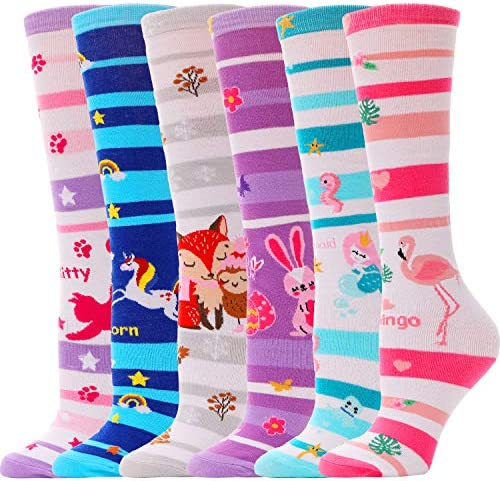 Girls Knee High Socks for Kids 6 Pairs Funny Aniaml Tall Crazy Long Novelty Boot Fun Child Socks