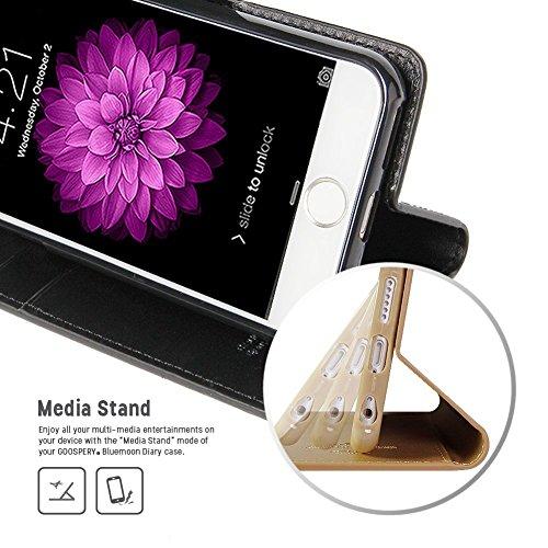 iPhone 6S PLUS / 6 PLUS fundas, [Drop Protection] GOOSPERY® Blue Moon Diary Caja del teléfono de la imitación de cuero tirón de la carpeta Case fundas para Apple iPhone 6S PLUS / 6 PLUS - Red Black