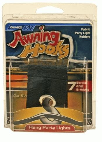 RV Awing Hooks with Fabric Straps (Easy Storage Inside Awning Roller Tube), Pack of 7