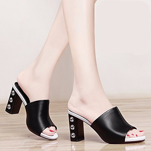 Fashion Female Black Thick New Outdoor Match With 8Cm Shoes KPHY High Drag The Sandals Out Wear Summer Sandals Go All Outside Heels qI4qAwU