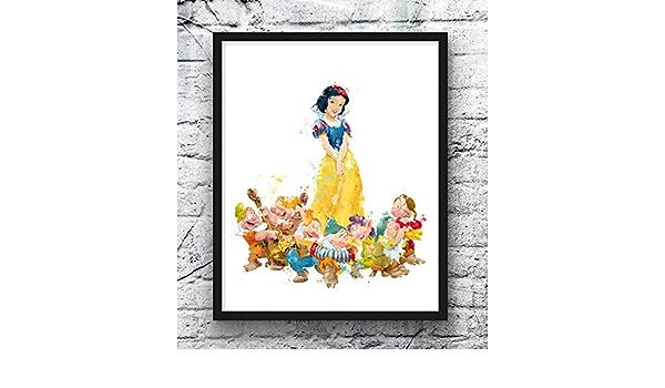 Seven Dwarfs Snow White Wall Art Disney Watercolor Poster Nursery Room UNFRAMED