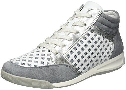 Ara Ladies Rome 12-34496 Sneaker Alta Grigio (acciaio, Bianco / Argento)