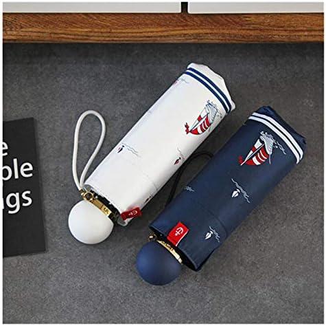 Zxebhsm Paraplu Nieuwe Mini Vouwende Paraplu Vrouwen Vijf Vouw Zonnebrandcrème Paraplu's Anti UV Zwarte Coating Winddicht 8K Parasol Klein (Kleur: Wit)
