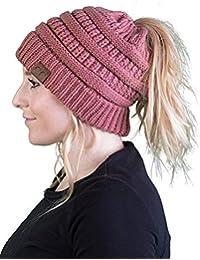 CC Ponytail Messy Bun BeanieTail Womens Beanie Solid Ribbed Hat Cap