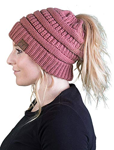 BT-6020a-30 Messy Bun Womens Winter Knit Hat Beanie Tail - Mauve