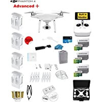 DJI Phantom 4 ADVANCED Plus Quadcopter Drone with 1-inch 20MP 4K Camera KIT + 4 Total DJI Batteries + 3 64GB Micro SD Cards + Reader + Guards + Range Extender + Charging Hub + Harness + HardCase