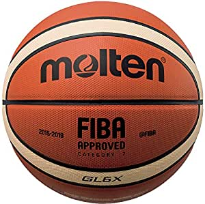 Molten Leather Basketball, Orange/Tan, Intermediate Size 6