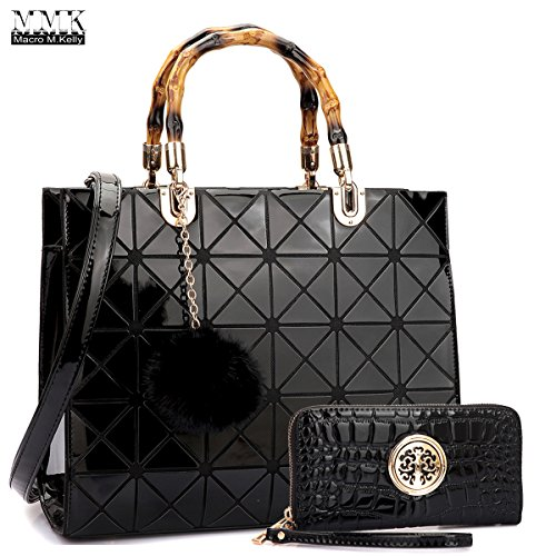 Image of MMK collection Fashion Bamboo handle Handbag with Free wallet set for Women~Signature fashion Designer Purse~ Beautiful Designer Purse & Women Satchel Purse (2022/168) (MA-15-2575(10-168)-BLACK)