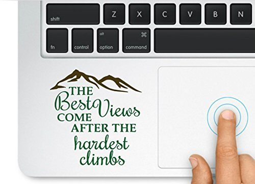 Decal & Sticker Pros Mountain Design Best Views Come After Hardest Climbs Decal Compatible with All Apple MacBook Pro, Retina and Air Models best motivational laptop stickers