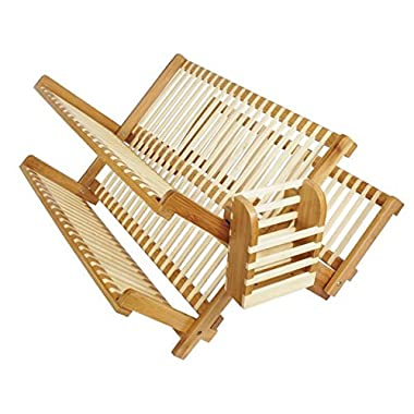 19 Inch All Natural Eco-Friendly Bamboo Dish Rack and Utensils Basket