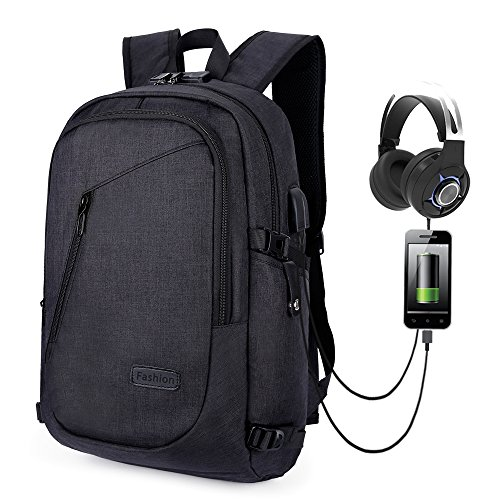 Business Laptop Backpack,School Bookbag,Travel Computer Backpack Water Resistant with Anti-theft Lock & USB Charging Port Fits 16 inch Laptop for Women & Men-Black