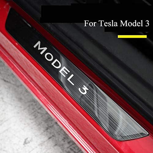Semoic 4 St/üCke Schwarz Edelstahl Einstiegsleisten Verschlei? Platte Auto Willkommen Pedal Einstiegsleisten f/ür Tesla Modell 3