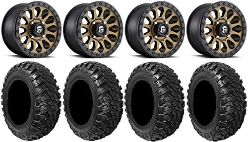 "Price comparison product image Bundle - 9 Items: Fuel Vector BR 14"" Wheels 32"" Kanati Mongrel Tires [4x137 Bolt Pattern 12mmx1.5 Lug Kit]"