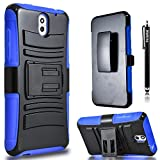HTC Desire 610 Case, Combo Rugged Shell Cover Holster with Built-in Kickstand and Holster Locking Belt Clip Blue + Circle(TM) Stylus Touch Screen Pen