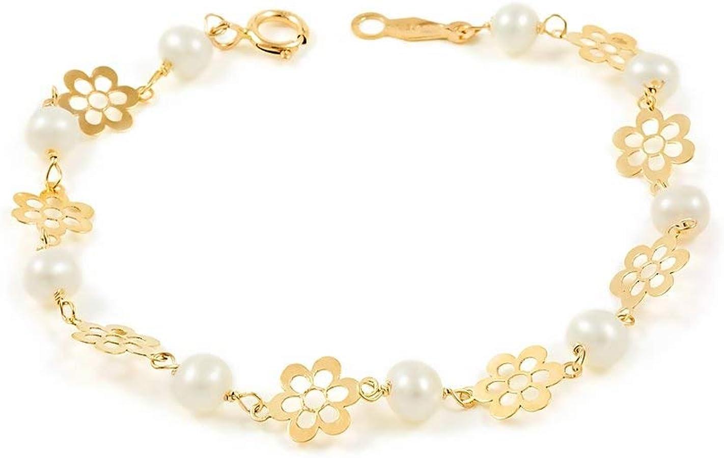 Pulsera bebe o niña oro margaritas caladas con perlas